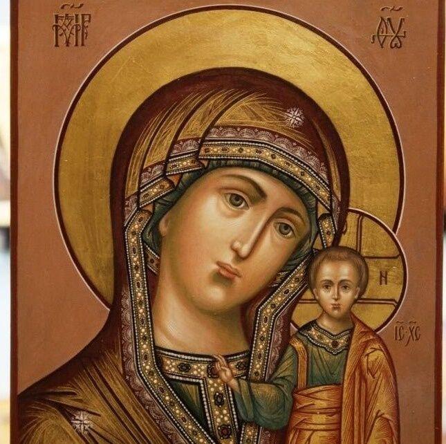Казанская Икона Божией Матери золото в нимбе на красном фоне 17 х 21 ...