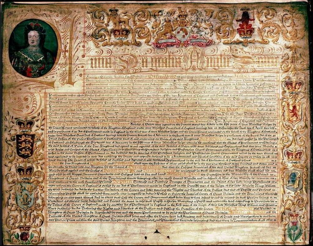 1 мая 1707 г. - Вступил в силу Акт об унии Англии и Шотландии