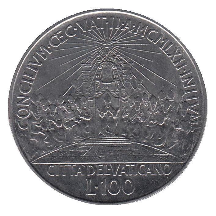 Ватикан. 100 лир 1962 год. Второй Вселенский собор.