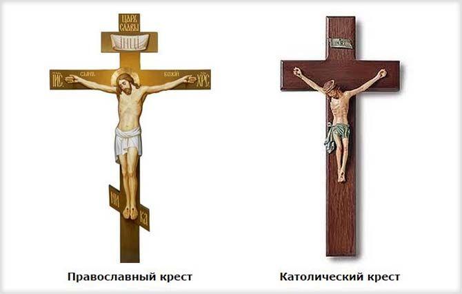 Отличия православного и католического крестов